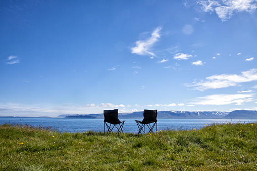 Camping Chair「Iceland, two camping chairs on a meadow」:スマホ壁紙(5)