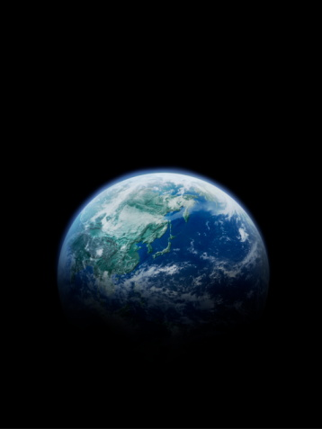 Vertical「The earth, computer graphic, black background, copy space」:スマホ壁紙(6)