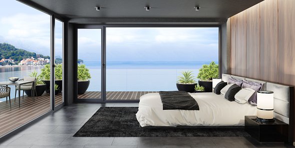 Villa「Mountain rock stone wall in luxurious apartment master bedroom interior」:スマホ壁紙(11)