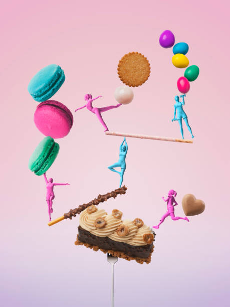 Girls figures taking a balance while exercising with sweets:スマホ壁紙(壁紙.com)
