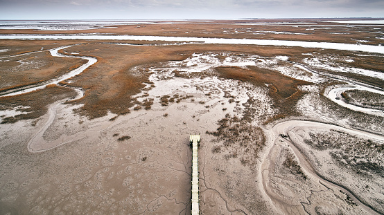 The Nature Conservancy「USA, Virginia, Aerial view of Virginia Coast Reserve, pier, marsh along the shoreline」:スマホ壁紙(2)