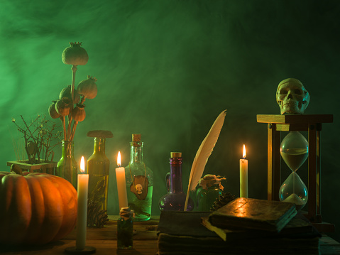 Evil「Pumpkin, Poison Bottle, Dead Insects, Candles, Human Skull and Magic Book For Halloween」:スマホ壁紙(11)