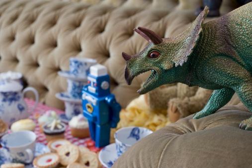 恐竜「恐竜のティーパーティ」:スマホ壁紙(17)