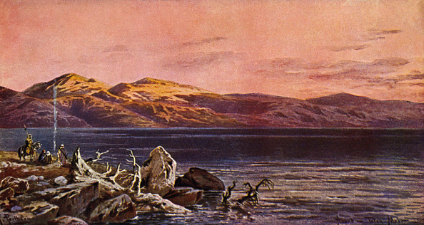 Dusk「Evening at the Dead Sea.  Postcard from early 1900s」:写真・画像(14)[壁紙.com]