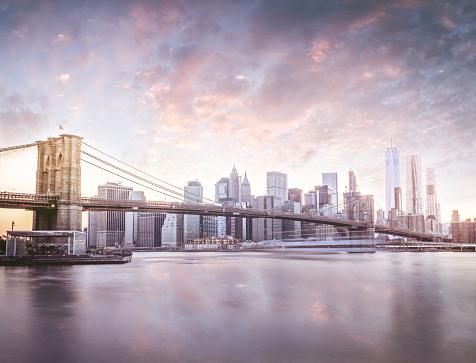 Famous Place「Manhattan skyline at sunset」:スマホ壁紙(5)