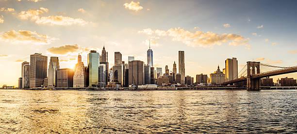 Manhattan skyline at sunset:スマホ壁紙(壁紙.com)