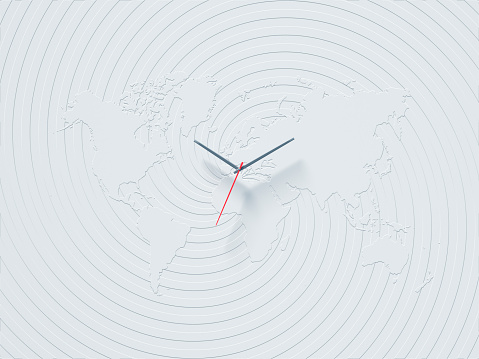 Image「A clock on the wall with world map in office」:スマホ壁紙(7)