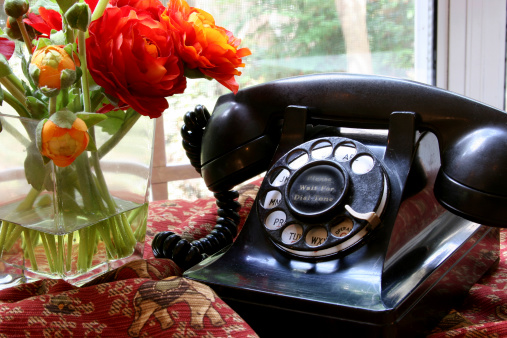 Telephone Line「Old, antique rotary dial Black Phone. home.」:スマホ壁紙(15)