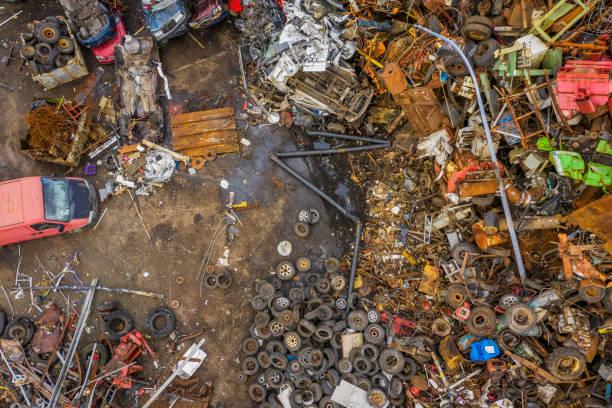 Aerial of junkyard, scrap metal and tires.:スマホ壁紙(壁紙.com)