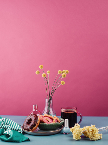 Coffee Break「Colorful still life with cakes donuts coffee and flowers」:スマホ壁紙(4)