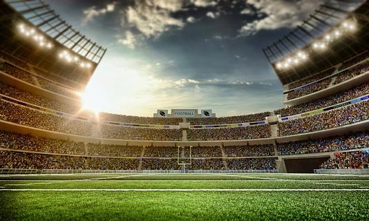 夜「アメリカンフットボールスタジアム」:スマホ壁紙(3)