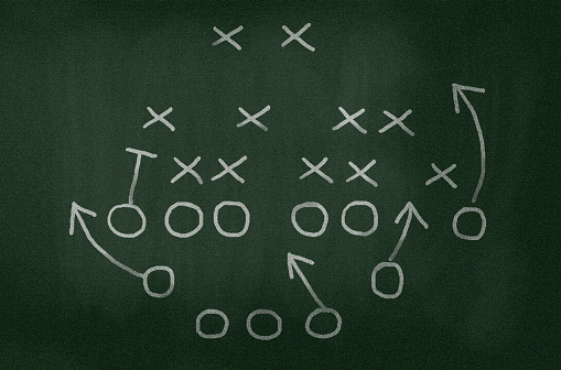 Chalk - Art Equipment「American football strategy diagram on chalkboard, vignette added」:スマホ壁紙(17)