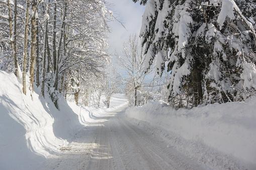 グルノーブル「Snow covered road」:スマホ壁紙(18)