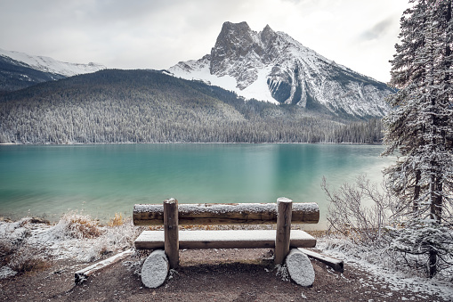 Emerald Lake「Snow covered bench by Emerald Lake, Banff National Park, Alberta, Canada」:スマホ壁紙(17)