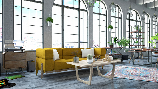 Bed - Furniture「Loft Room with Sofa」:スマホ壁紙(12)