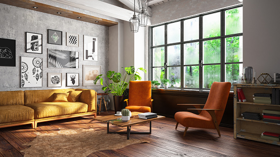 Rustic「Loft Room with Sofa and Pictures」:スマホ壁紙(3)