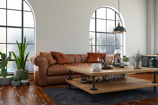 Old-fashioned「Loft Room with Sofa and Windows」:スマホ壁紙(6)