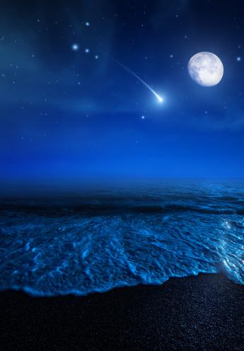 Starry sky「Rising moon over sea」:スマホ壁紙(14)