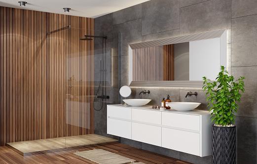Wood Paneling「Modern Scandinavian bathroom with fireplace」:スマホ壁紙(6)