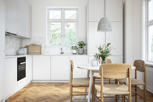 Inexpensive「Modern scandinavian kitchen and dining room interior stock photo」:スマホ壁紙(17)