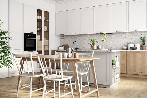 Inexpensive「Modern scandinavian kitchen and dining room interior stock photo」:スマホ壁紙(8)