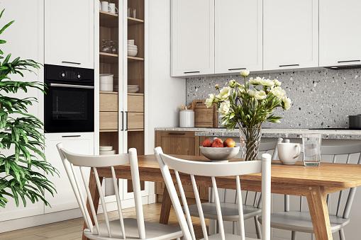 Scandinavia「Modern scandinavian kitchen and dining room interior stock photo」:スマホ壁紙(16)