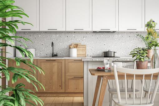 Plant「Modern scandinavian kitchen and dining room interior stock photo」:スマホ壁紙(11)