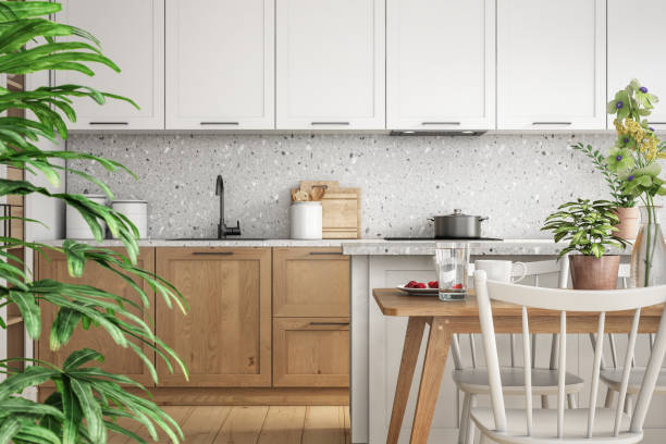 Modern scandinavian kitchen and dining room interior stock photo:スマホ壁紙(壁紙.com)
