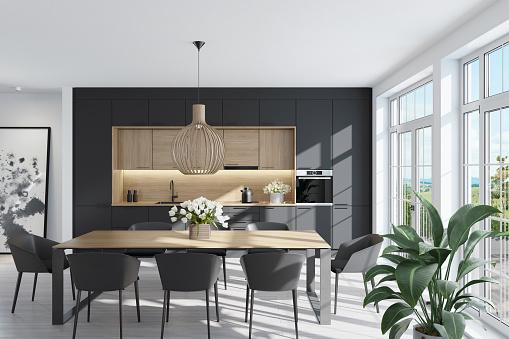 Scandinavia「Modern Scandinavian kitchen and dining room」:スマホ壁紙(2)
