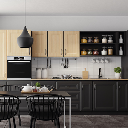 Wood Paneling「Modern Scandinavian kitchen and dining room with matte light and dark wood traditional design cabinets」:スマホ壁紙(14)