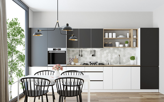 Kitchen「Modern Scandinavian kitchen and dining room」:スマホ壁紙(4)