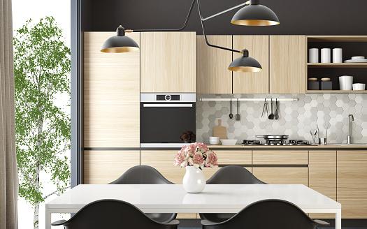 Kitchen「Modern Scandinavian kitchen and dining room」:スマホ壁紙(11)