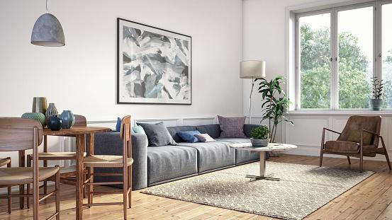 Pastel「Modern scandinavian living room interior - 3d render」:スマホ壁紙(8)