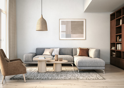 Gray Color「Modern scandinavian living room interior - 3d render」:スマホ壁紙(3)