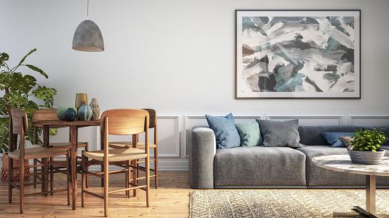 Art「Modern scandinavian living room interior - 3d render」:スマホ壁紙(5)