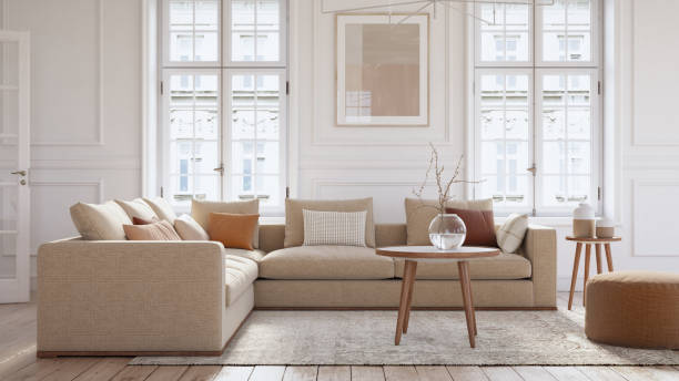 Modern scandinavian living room interior - 3d render:スマホ壁紙(壁紙.com)