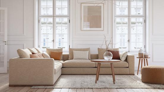 Pastel「Modern scandinavian living room interior - 3d render」:スマホ壁紙(19)