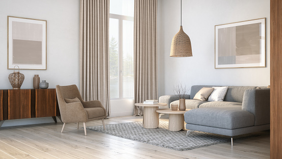 Beige「Modern scandinavian living room interior - 3d render」:スマホ壁紙(13)