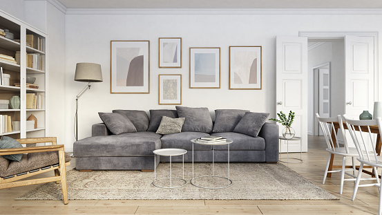 Serbia and Montenegro「Modern scandinavian living room interior - 3d render」:スマホ壁紙(13)