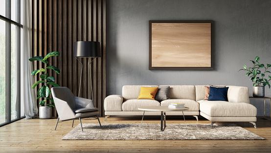 House「Modern scandinavian living room interior - 3d render」:スマホ壁紙(12)