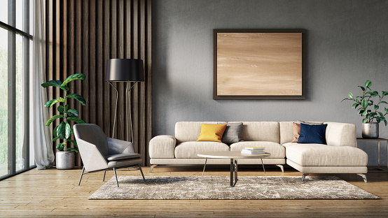 Gray Color「Modern scandinavian living room interior - 3d render」:スマホ壁紙(1)