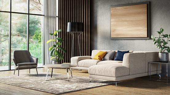 Nature「Modern scandinavian living room interior - 3d render」:スマホ壁紙(16)