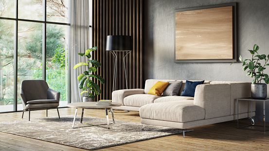 Looking Through Window「Modern scandinavian living room interior - 3d render」:スマホ壁紙(14)