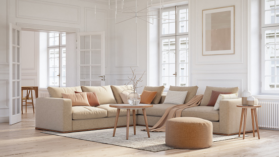 Beige「Modern scandinavian living room interior - 3d render」:スマホ壁紙(9)