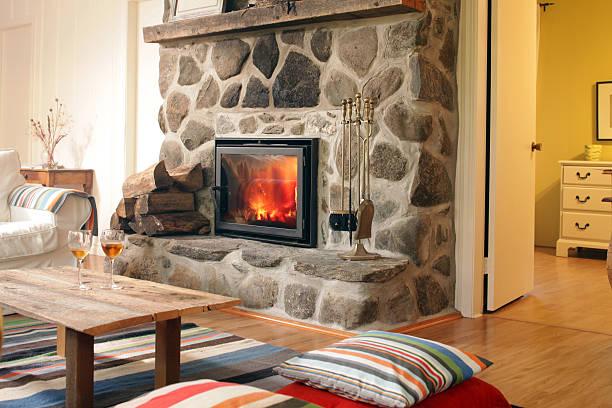 log cabin fireplace:スマホ壁紙(壁紙.com)