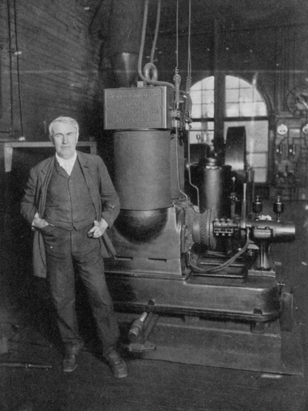Electric Light「Thomas Alva Edison, American inventor, with his first dynamo for producing electric light, 1880s.」:写真・画像(6)[壁紙.com]