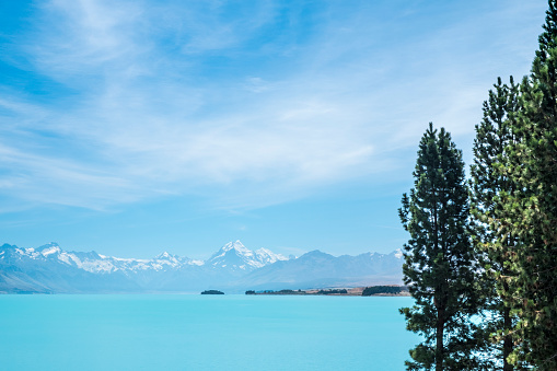Mt Cook「Aqua Colored lake with snow capped mountains on New Zealand's South Island」:スマホ壁紙(7)