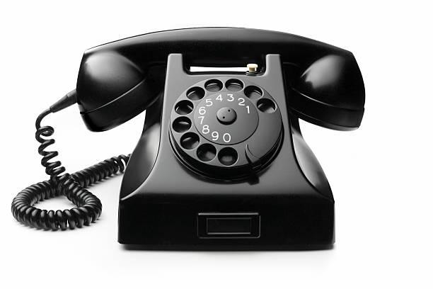 Office: Telephone Black Isolated on White Background:スマホ壁紙(壁紙.com)