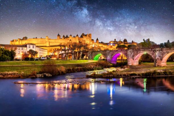 Carcassonne Pont Vieux france night reflection blue hour cite bridge:スマホ壁紙(壁紙.com)