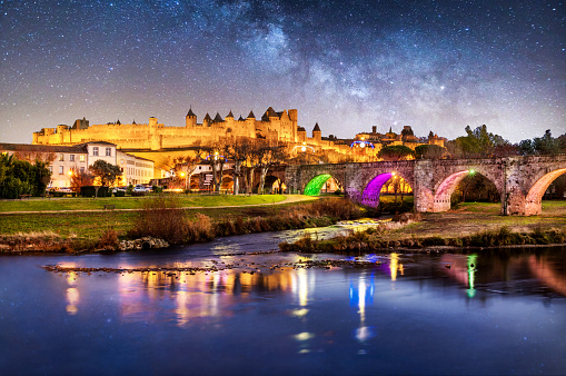 UNESCO「Carcassonne Pont Vieux france night reflection blue hour cite bridge」:スマホ壁紙(3)